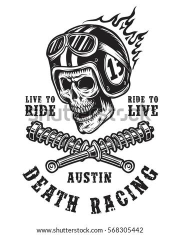 racing emblem with skull in