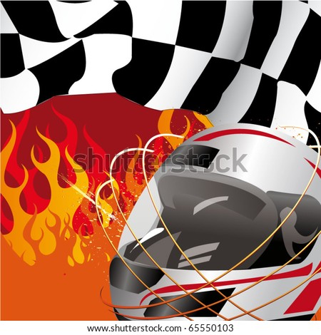 racing flag and helmet with flames of fire