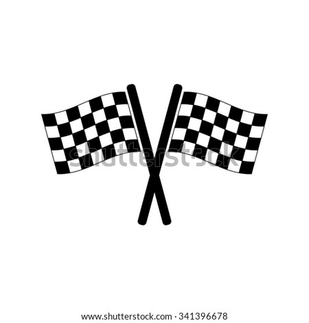 Racing flag  - black vector icon