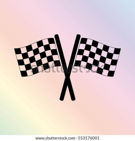 Racing flag  - black vector icon