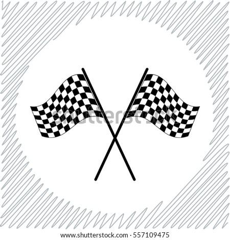 Racing flag vector icon - black  illustration
