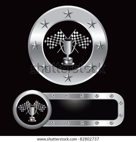 Racing flags and trophy in silver metal banners