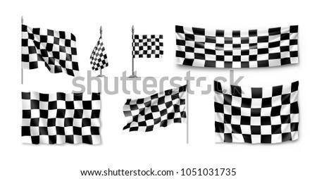racing flags set realistic