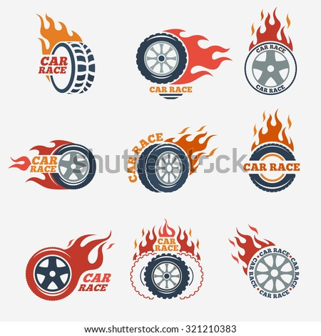 racing flat labels set blaze