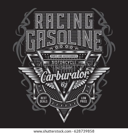 Shutterstock Racing gasoline motorcycle typography, tee shirt graphics, vectors
