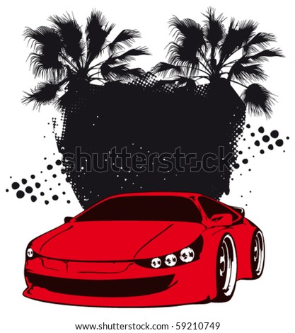 racing grunge shield with red sport fast car - Original design