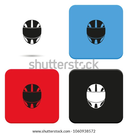 Racing helmet flat vector icon.
