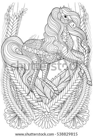 Zen Art Racing Horse In Flowers Adult Anti Stress Coloring Page Hand Drawn Zentangle Animal For Colouring