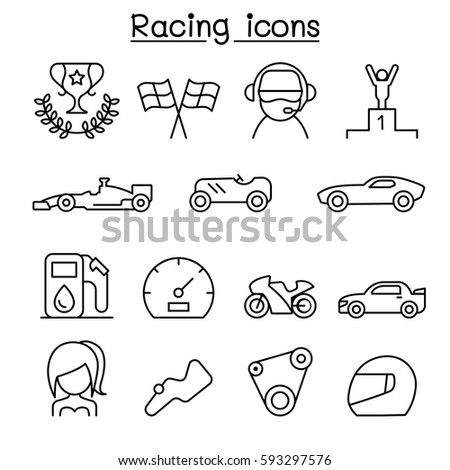 racing icon set in thin line