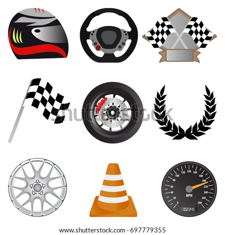 Racing icons. Racing objects including helmet, trophy, flag, wheel, rim, cone, speedometer, steering wheel and laurel wreath. Vector illustration.