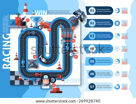 racing infographics set with