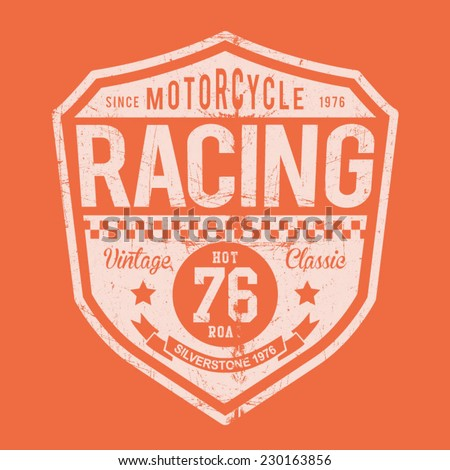 racing motorcycle typography  t