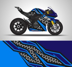 Racing motorcycle wrap decal and vinyl sticker design. Concept graphic abstract background for wrapping vehicles, motorsports, Sport bikes, motocross, supermoto and livery. Vector illustration.