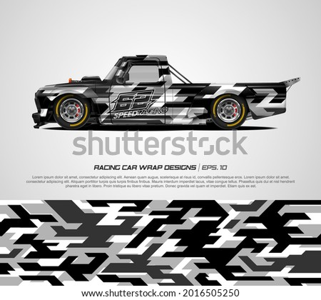 Racing pickup truck wrap modern camouflage design for race car, rally, adventure vehicle and sport livery. Graphic abstract stripe racing background kit designs. eps 10