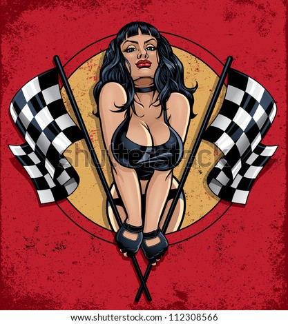 racing pinup holding checkered