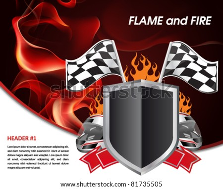 Background Auto Racing on Racing Poster With Flames Of Fire And Racing Flag Stock Vector