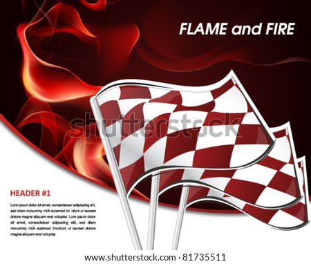 Auto Racing Posters on Racing Poster With Flames Of Fire And Racing Flag Stock Vector