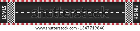 Racing road background with red checkered borders. Race track with start and finish line. Top view. Template design for karting, formula 1, nascar racing. Vector illustration