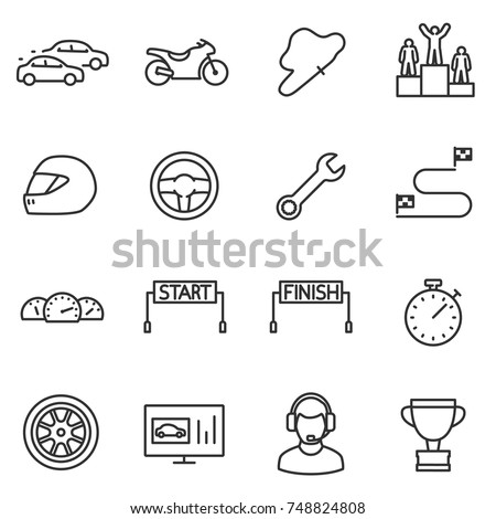 racing  set icons automobile