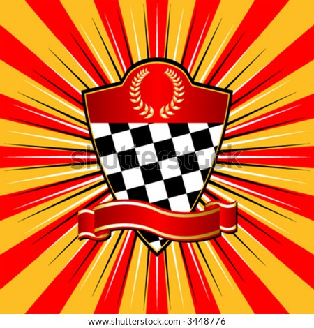 Racing shield over striped background
