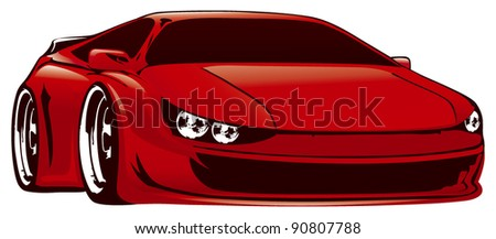 racing sport car in red color