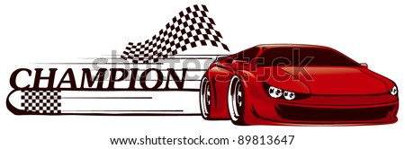 racing sport car with champion banner