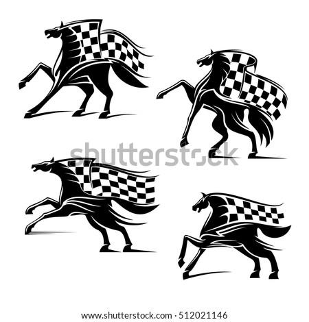 racing sport emblems horses