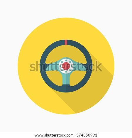 Racing Steering wheel helmets icon, Vector flat long shadow design. Racing concept.