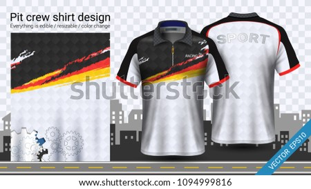 Racing t-shirt with zipper, Sport apparel mockup template, Create clothing and uniforms for your team such as soccer or football kit, pit crew, Everything is edible, resizable and color change.