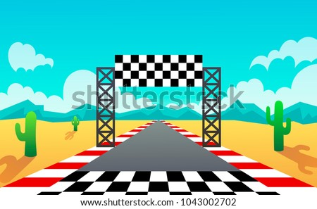 racing track. landscape. desert. vector illustration
