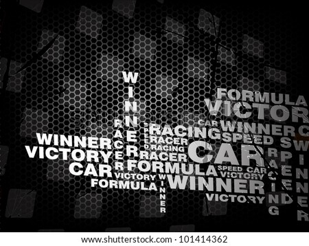 Racing vector vintage background with words of racing theme - stock vector
