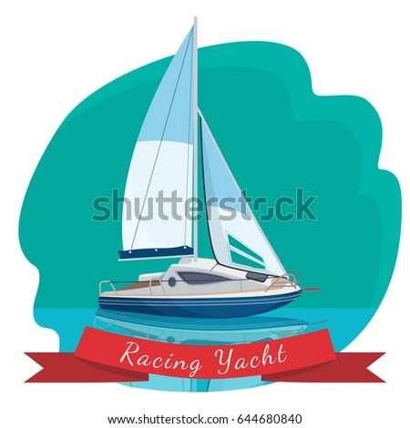 Racing yacht with sails drifting in sea vector illustration isolated