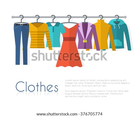 Racks with clothes on hangers. Flat style vector illustration.