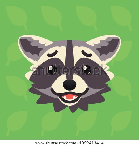 racoon emotional head vector