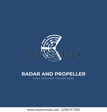 Radar and propeller uav drone logo icon symbol with blue navy background