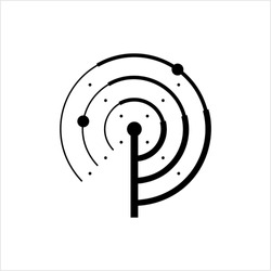 Radar Icon, Radio Waves Detection System Vector Art Illustration