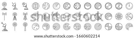 Radar icons. Set of Radar screen icons. Vector illustration. Radar linear icons isolated. Сток-фото ©
