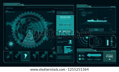 Radar interface, command center, game  ui, futuristic concept, marine, military