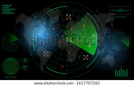 Radar Monitor. Air Traffic Control Radar screen and plane that is flying in the screen. background is a world map. Vector illustration eps10 Сток-фото ©
