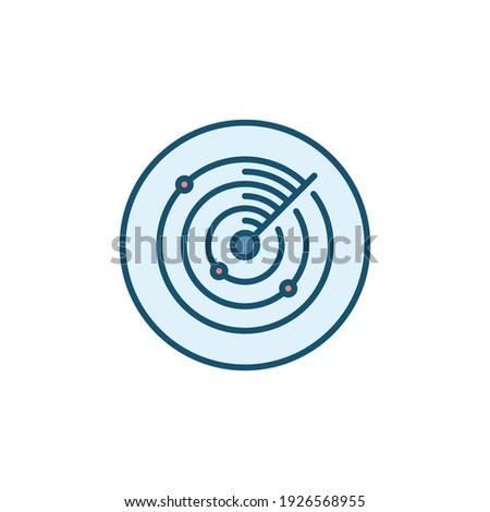 Radar or Radio Waves Detection System vector round concept colored icon or symbol Сток-фото ©