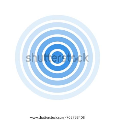 Radar screen concentric circle. Blue color ring. Signal.