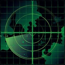 Radar screen green color. Vector illustration