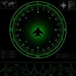 Radar screen with compass surrounding jet fighter. Commercial jets and piston planes optional, eps 10.