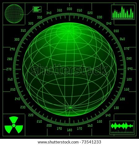 Radar screen with digital globe and scale (vector)