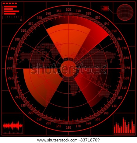 Radar screen  with radioactive sign. Vector illustration.