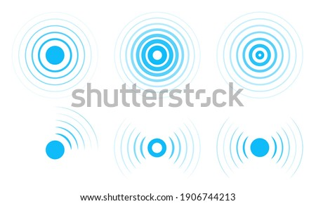 Radar vector icons. Signal concentric circles. Sonar sound waves isolated on white background. Fat style vector illustration EPS 10.