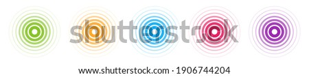 Radar vector icons. Signal concentric color circles. Sonar sound waves isolated on white background. Fat style vector illustration EPS 10. Сток-фото ©