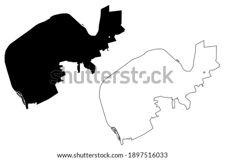 Radford city County, Commonwealth of Virginia (Independent city, U.S. county, United States of America, USA) map vector illustration, scribble sketch Lovely Mount, English Ferry and Ingles Ferry map Foto stock ©