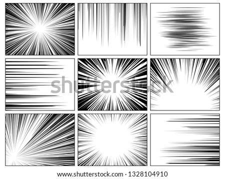 Radial comics lines. Comic book speed horizontal line cover speed texture action ray explosion hero drawing cartoon vector set