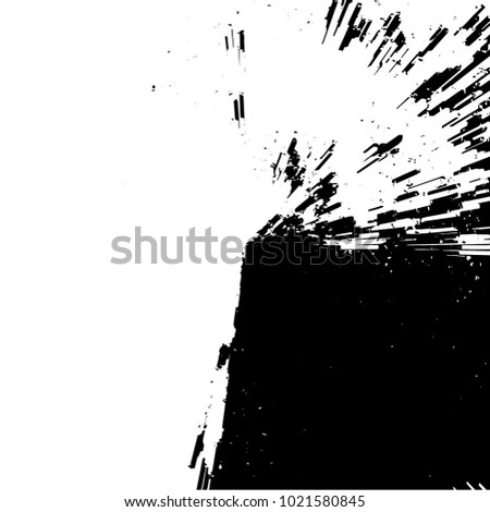 Radial Concentric Particles From Center To Edges. Black And White Vector Grunge Overlay Background. Explosion Zoom Effect Texture. Abstract Pattern Brushstroke Sample. Flying Fragments #1021580845